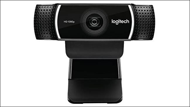 A Logitech clip-on HD webcam.