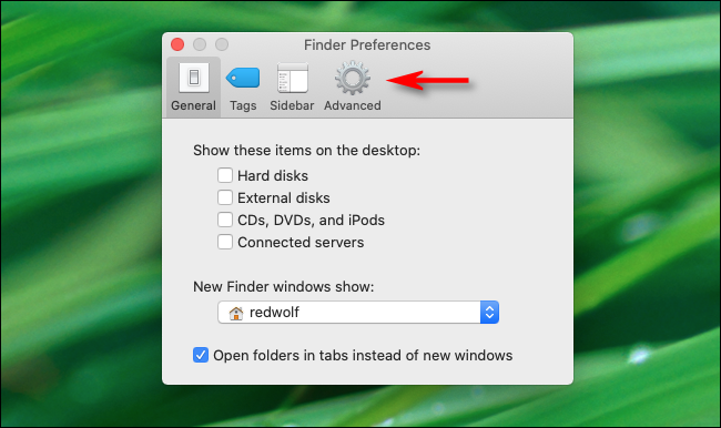 Click Advanced button in Finder Preferences in macOS