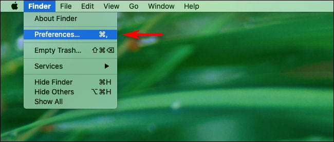 """Click """"Finder"""" then """"Preferences"""" in the macOS menu bar."""