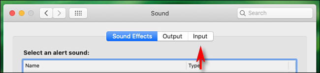 """Click """"Input"""" in the """"Sound"""" menu."""