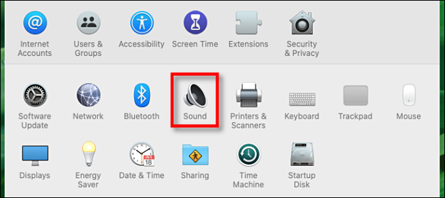 Click Sound icon in System Preferences on Mac