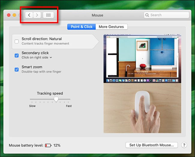 System Preferences Navigation Buttons on Mac.