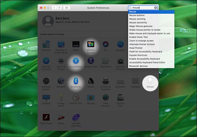 Resultados de búsqueda de preferencias del sistema en Mac