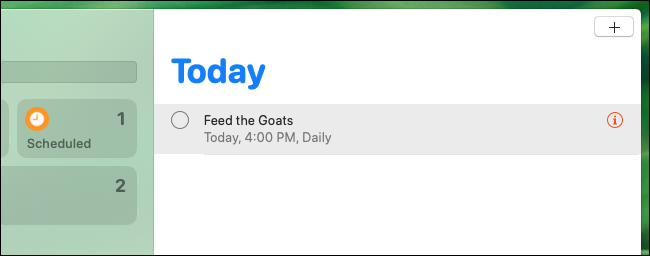 Scheduled reminder listing in Reminders app on Mac
