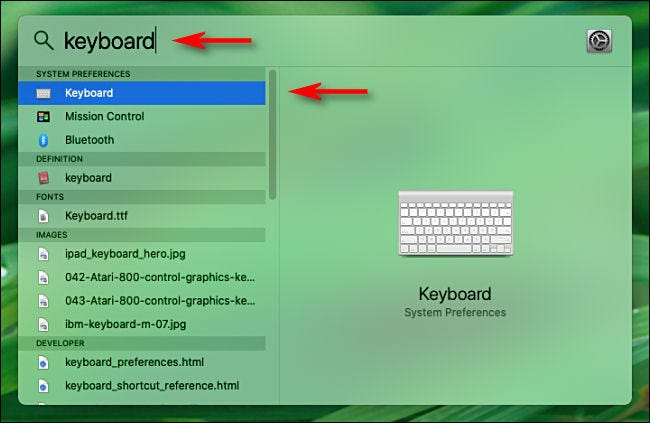 Open Spotlight on Mac and type a word to search for system preference options.