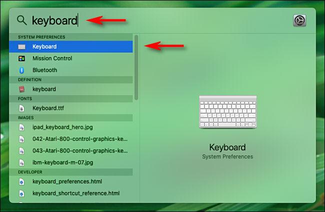 Abra Spotlight en Mac y escriba una palabra para buscar opciones de preferencias del sistema.