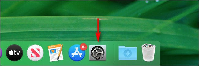 Launch System Preferences on a Mac by clicking its icon in the Dock.