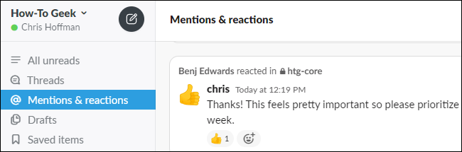 Viewing mentions and reactions in Slack.