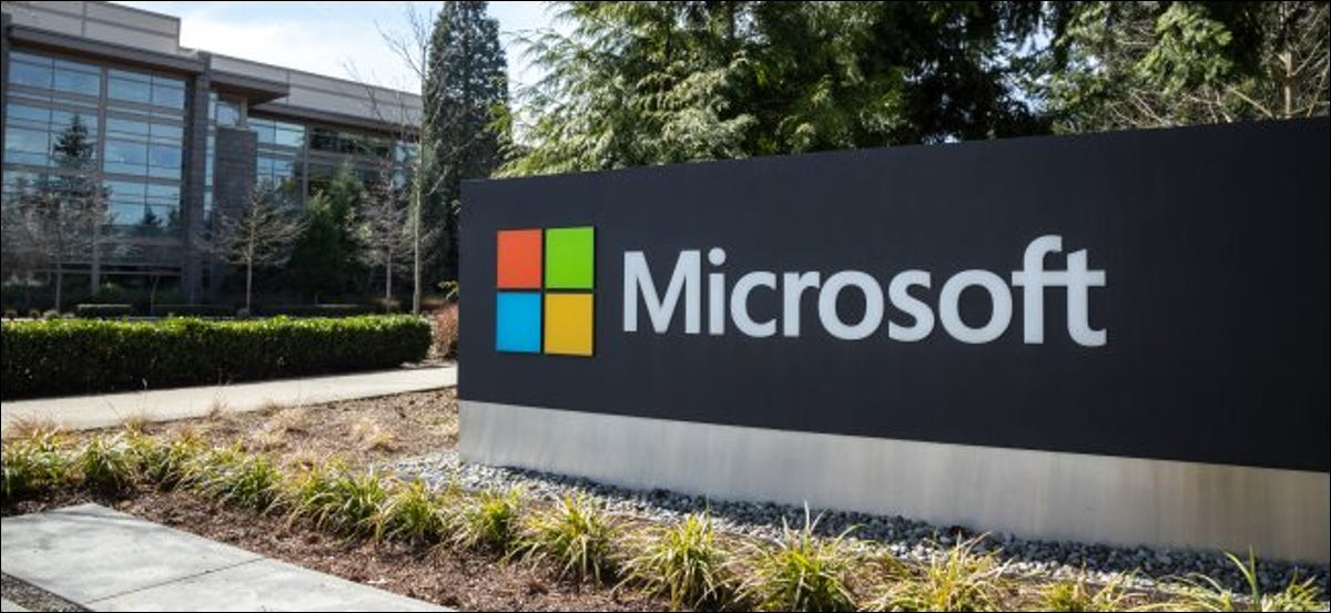 The Microsoft sign in front of the company's headquarters.