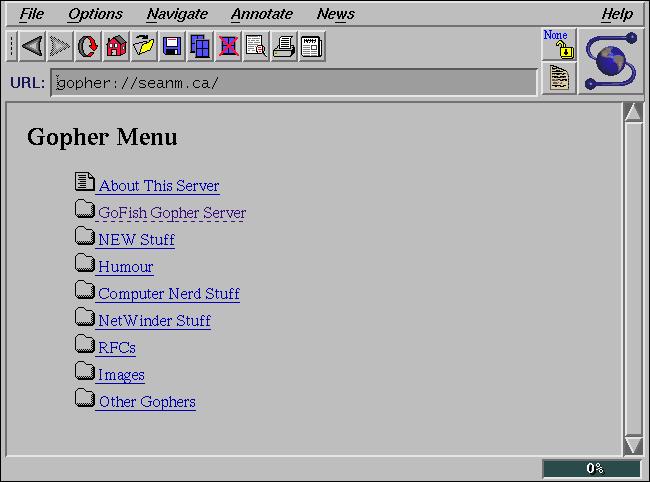 "A ""Gopher Menu"" on NCSA Mosaic."