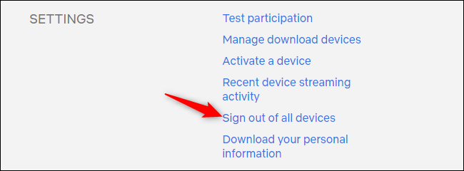 Signing out of all devices from the Netflix account settings page.
