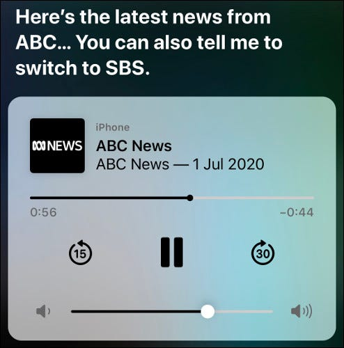 Siri playing an ABC News audio broadcast on iOS.