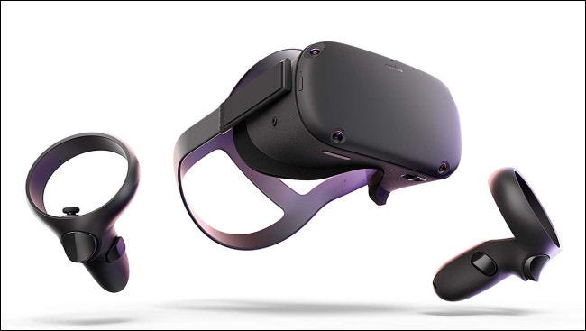 The Oculus Quest headset and wrist controllers.