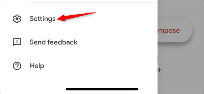 Abriendo la pantalla de configuración de la aplicación Gmail en iPhone.
