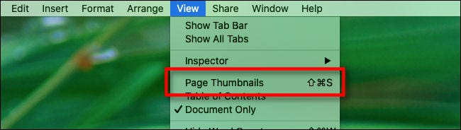 "A keyboard shortcut next to ""Page Thumbnails"" in the ""View"" menu in ""Pages."""