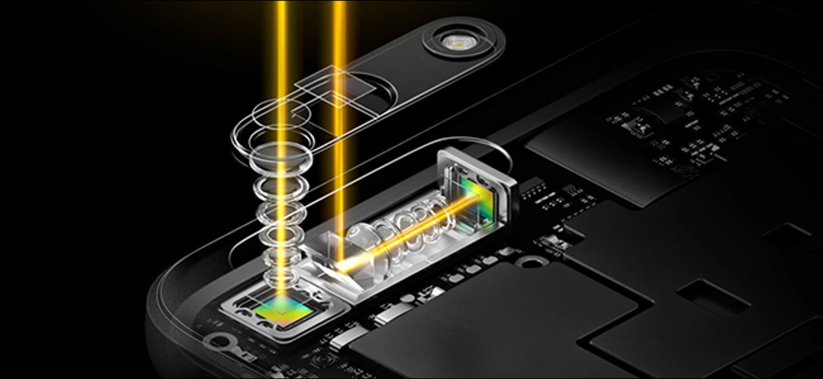 A diagram of a periscope lens on an Oppo smartphone.
