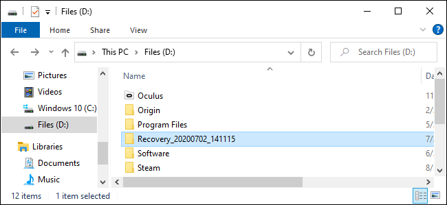 Where Windows File Recovery puts recovered files.