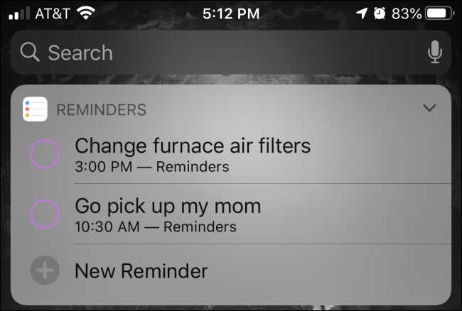 "A ""Reminders"" widget in Today view on an iPhone."