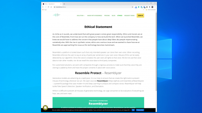 "The ""Ethical Statement"" page on the Resemble AI website."