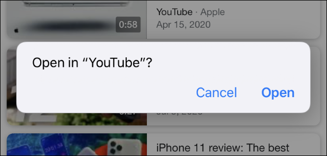 The prompt Safari shows before opening an app in Private Browsing mode.