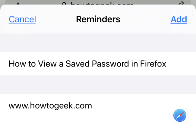 "A website saved in ""Reminders."""