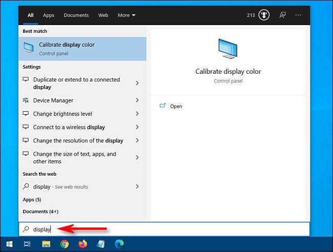 Searching for settings using the Windows 10 Start menu.