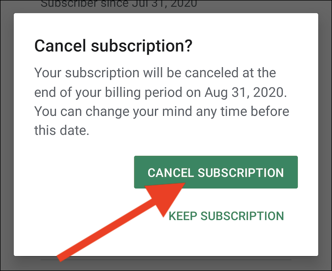 """Select the """"Cancel Subscription"""" button to confirm"""