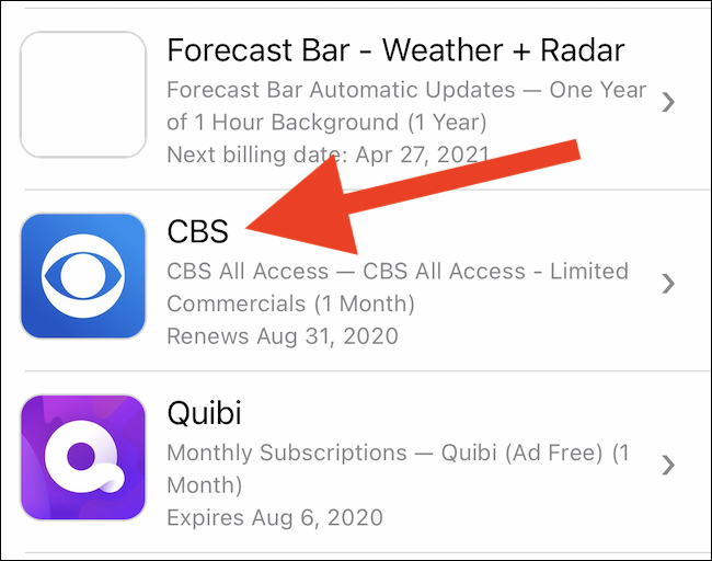 Select your CBS subscription