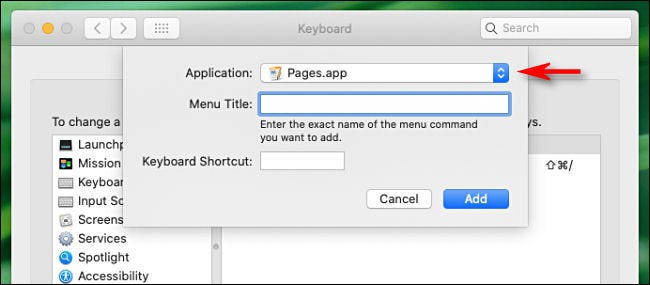 Select the application you want to have a keyboard shortcut.