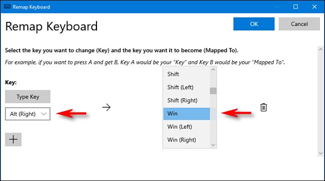 En PowerToys, seleccione una tecla y asígnela a la tecla de Windows en el Administrador de teclado en Windows 10