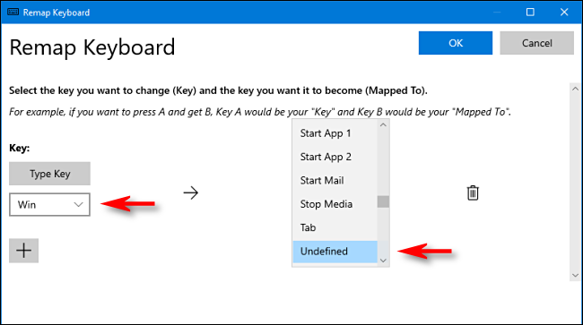 In PowerToys, select Win key and Unassigned in Keyboard Manager on Windows 10