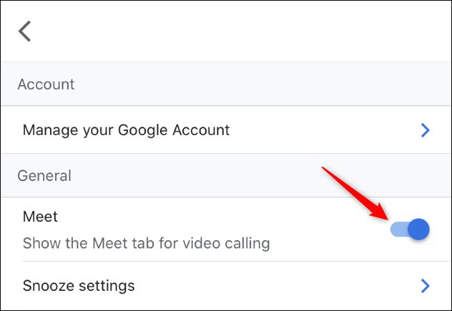 Toggling the Meet tab for video calling in Gmail on iPhone.