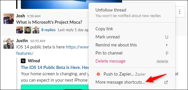 "The ""More message shortcuts"" option in Slack's message context menu."
