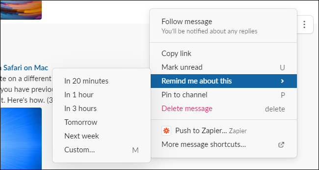 Creating a reminder in Slack for Windows, Mac, or the web.