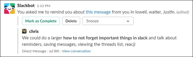 A reminder about a message from Slackbot.