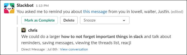 Un recordatorio sobre un mensaje de Slackbot.