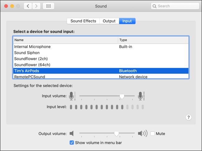 "The ""Input"" tab under the ""Sound"" menu."