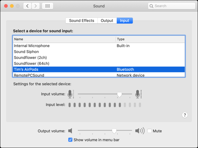 "The ""Input"" tab under the ""Sound"" menu."
