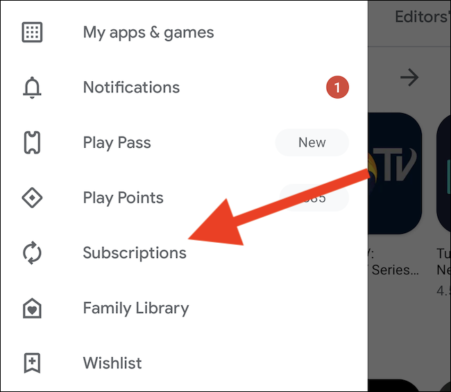 """Select the """"Subscription"""" option"""
