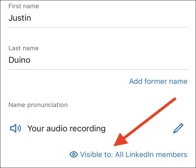 """Toca el enlace """"Visible para"""" para editar quién puede escuchar tu grabación"""