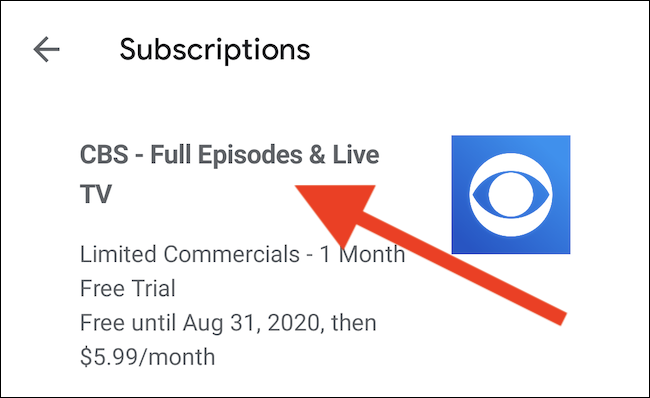 Tap the CBS subscription from the list