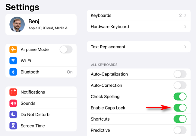 """Tap the """"Enable Caps Lock"""" switch in iPad Settings."""