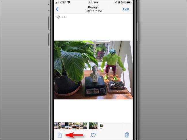 Toque no botão Compartilhar no aplicativo Fotos.