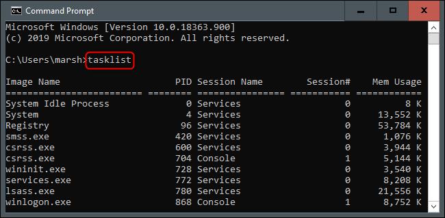 comando de lista de tareas en el símbolo del sistema