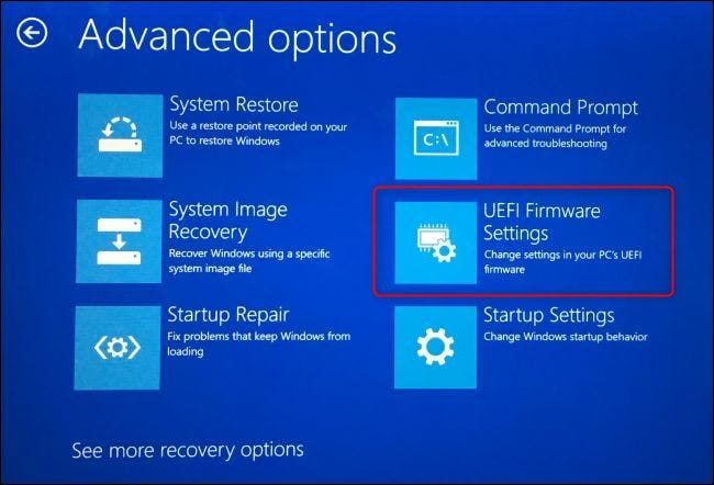 The UEFI FIrmware Settings option on Windows 10's advanced boot options screen.