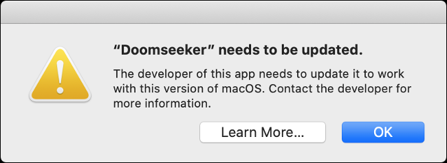A macOS outdated app error message.