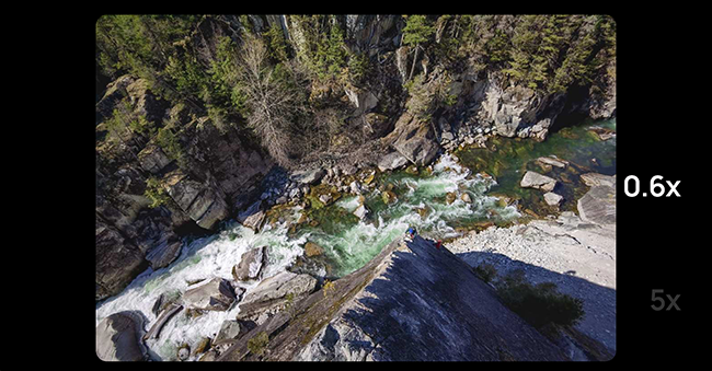 Wide shot of a river in a canyon.