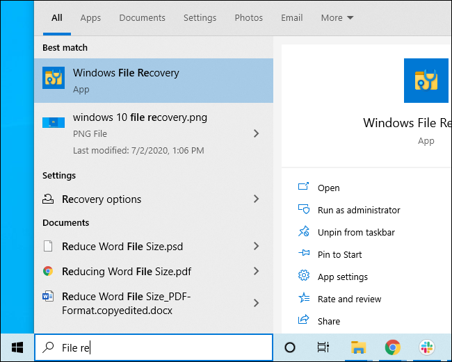 Launching Windows File Recovery from the Start menu