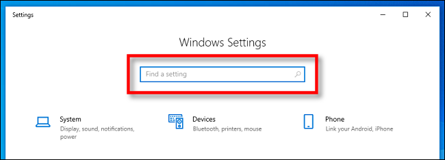 Localize a barra de pesquisa Configurações do Windows no Windows 10.