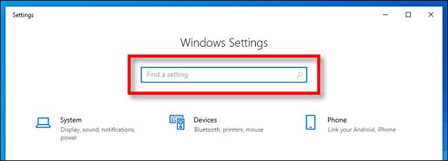 Locate the Windows Settings search bar in Windows 10.